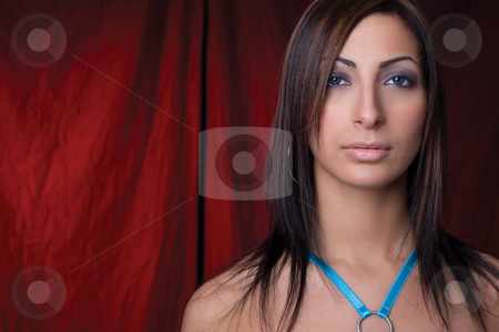 Fashion girl stock photo, Twenty something libanese fashion model with blue top looking at the camera by Yann Poirier