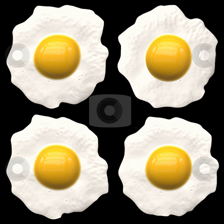Fried eggs stock photo, Example of classical breakfast of the bachelor, represented on a black background. by citcarsten