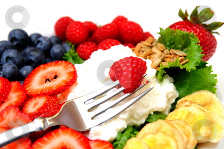 Cottage Cheese And Berries stock photo, Closeup of a cottage cheese salad with berries including Raspberry, Blueberry, Strawberry and Banana chips by Lynn Bendickson