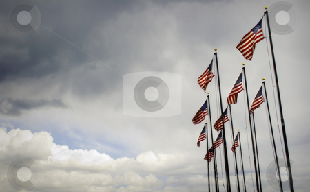 American Flags Blowing in Wind - Right Third Layout stock photo, American Flags Blowing in Wind with cloudy dramatic sky. Good themes for Patriotic, American, Holidays, Memorials, Veterans, War, National Pride, Unity, Cultural, Government. by Jeff DeMent