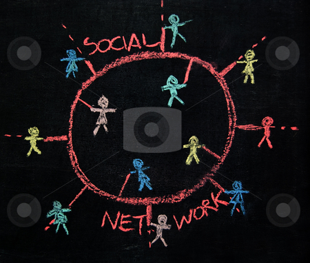 Social networking stock photo, Social Network connecting people sketch on a blackboard by Roberto Marinello
