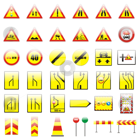 Fully editable vector european traffic signs with details stock vector clipart, Fully editable vector european traffic signs with details by pilgrim.artworks