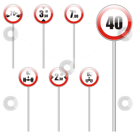 Fully editable vector european traffic signs with stick stock vector clipart, Fully editable vector european traffic signs with stick by pilgrim.artworks