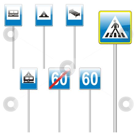 Fully editable vector european traffic signs with stick stock vector clipart, Fully editable vector european traffic signs with stick by pilgrim.artworks