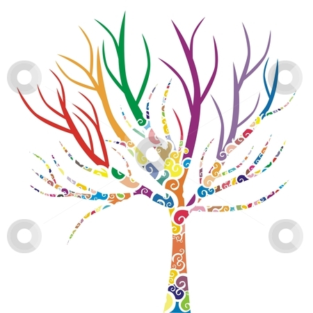 Vector illustration of a tree with colored patterns  stock vector clipart, Vector illustration of a tree with colored patterns by pilgrim.artworks