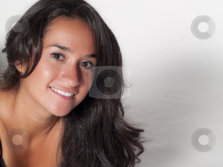 Native american woman stock photo, Close portrait of a native american woman on white, no isolation by Cora Reed
