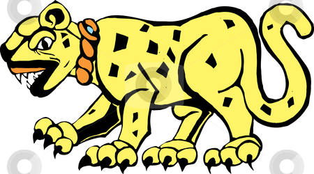 Mayan Jaguar stock vector clipart, Jaguar rendered in a Mayan mural and pottery style. by Jeffrey Thompson