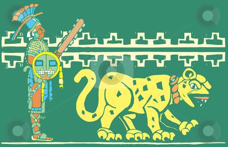 Mayan Warrior and Jaguar stock vector clipart, Mayan warrior in full regalia with Jaguar. by Jeffrey Thompson