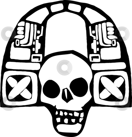 Headphones of the Maya #1 stock vector clipart, Mayan Skull spinning music and listening to headphones by Jeffrey Thompson