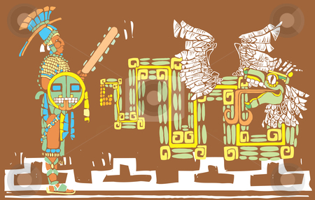 Mayan Warrior and Kukulcan stock vector clipart, Mayan warrior in full regalia and Kulkulcan by Jeffrey Thompson