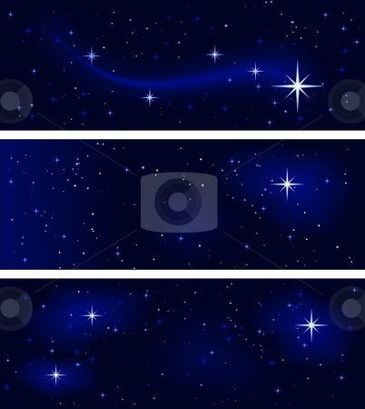 Peaceful starry night, silent and tranquil stock vector clipart, 3 banners with different star   constellations. Peaceful, tranquil and silent. Use of   10 global colors, blends. by Ina Wendrock