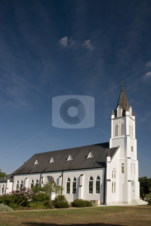 Ammannsvilles Church stock photo, Classic white wooden church of Ammannsville. by Charles Buegeler
