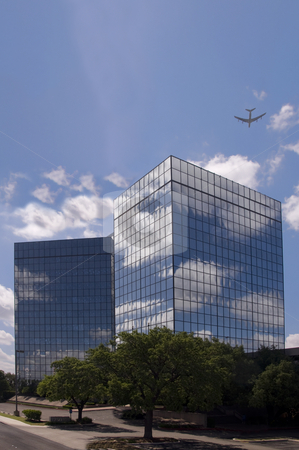 Business Office stock photo, Modern business office with reflections and glass. by Charles Buegeler