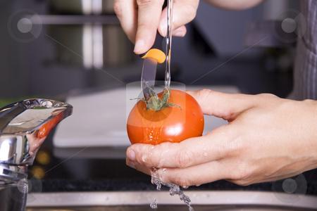 Washing a tomato stock photo, Washing a tomato in a kitchen by Daniel Kafer