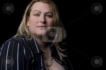 Overweight fashion model stock photo, Thirty something overweight fashion model in sexy black outfit by Yann Poirier
