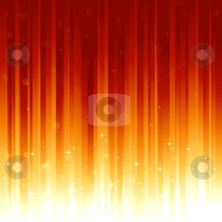 Stars and defocused light dots on red golden vertically striped background stock vector clipart, Red golden festive background with stars and bokeh effect. Stripes controlled by 2 linear gradients. Some light dots with linear gradients. Use of global colors. Can be tiled vertically to custom size by Ina Wendrock