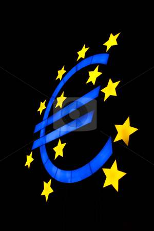 Euro symbol isolated on black stock photo, Euro symbol isolated on black with blue color and yellow stars by Daniel Kafer