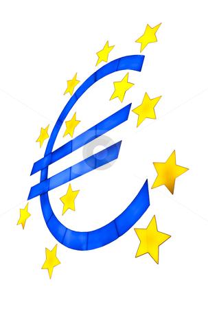 Euro symbol isolated on white stock photo, Euro symbol isolated on white with yellow stars by Daniel Kafer