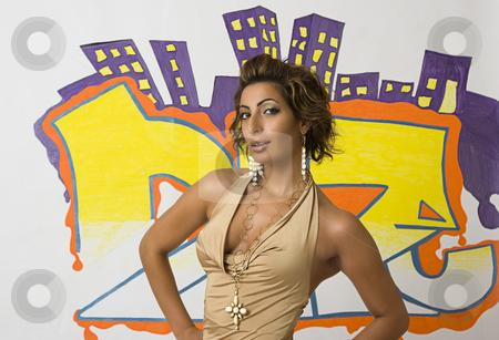 Graffiti fashion model stock photo, Twenty something libanese fashion model in front of hip hop inspired graffiti by Yann Poirier