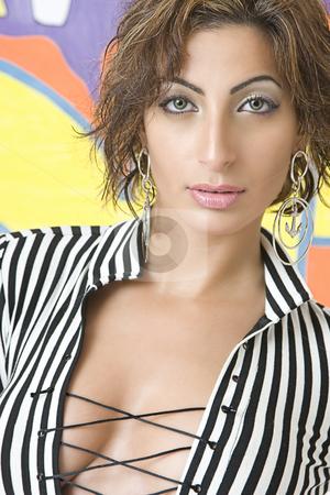 Graffiti fashion model stock photo, Close up protrait of a twenty something libanese fashion model in front of hip hop inspired graffiti by Yann Poirier