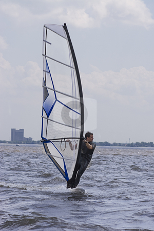 Windsurfer stock photo, Male windsurfer gliding on the St-Laurent River by Yann Poirier