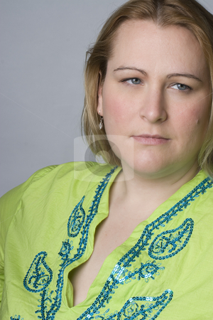 Full figure women stock photo, Portrait of a thirty something overweight women in casual clothes by Yann Poirier