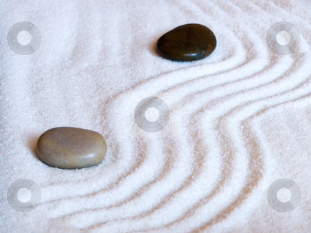 Japanese zen  garden stock photo, Close-up of a a Japanese zen garden with two stones. by FEL Yannick