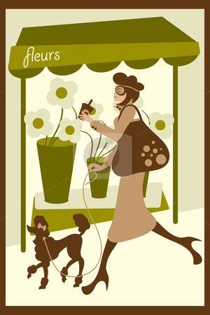 Dog Walking stock vector clipart, Vector illustration of a lady shopping and drinking coffee while walking her dog. Eps file is compatible with older versions of illustrator. by Tugce Andic