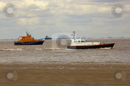Boats on the humber estuary stock photo, An assortment of boats on the humber estuary off spurn head yorkshires east coast by Mike Smith