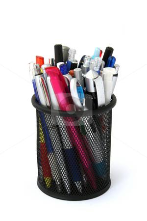 Pen and pencil metal holder stock photo, Pen and pencil metal holder by Stanislav Vasko