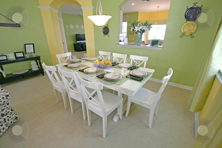 Dining Room stock photo, A Dining Room in a House in Florida. by Lucy Clark