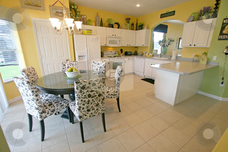 Kitchen and Breakfast Area stock photo, A Kitchen and Breakfast Area in a House in Florida. by Lucy Clark