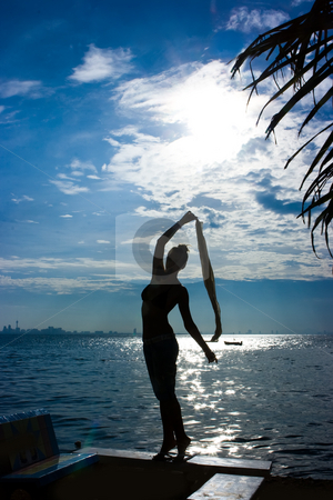 Girl silhouette at the sea stock photo, Silhouette of a girl standing at the sea by Dmitry Rostovtsev