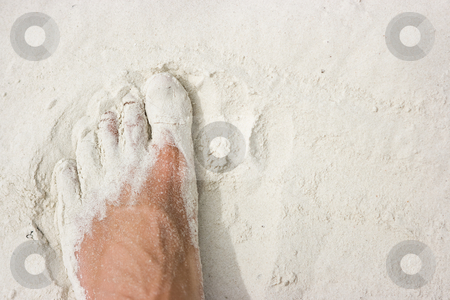 Foot on white sand stock photo, Male foot standing on white sand beach by Dmitry Rostovtsev