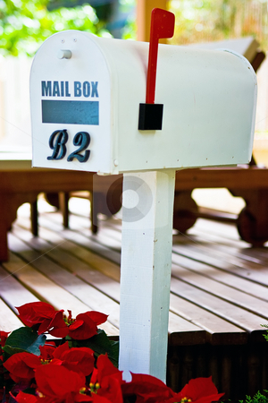 Mailbox stock photo, White painted mail box in tropical scene by Dmitry Rostovtsev