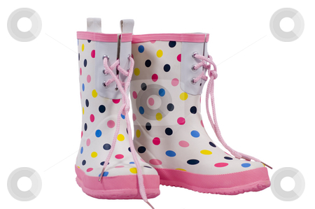 Polka Dot Boots on White stock photo, Childrens white and polka dot boots with pink trim isolated on white background. by Stewart Behra