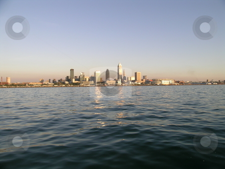 Cleveland Skyline at Sunset stock photo, Cleveland Skyline from Lake Erie view at sunset. by Stewart Behra