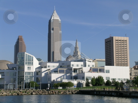 North Coast I stock photo, Cleveland's North Coast cityscape in the late afternoon with sun shining and blue sky. by Stewart Behra