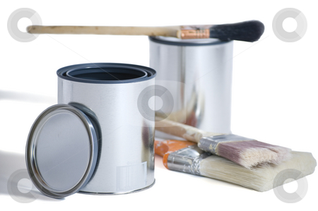 Two Cans Three Brushes stock photo, Two brand new silver paint cans with 3 brushes isolated on a white background with a clipping path. by Stewart Behra