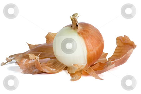 Onion Half Peeled stock photo, Sweet onion with brown skin half peeled and isolated on white with clipping path. by Stewart Behra