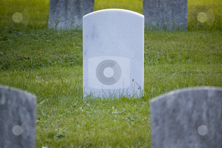 Blank White Gravestone stock photo, A blank white gravestone on a green grass field with darker stones surounding it. by Stewart Behra