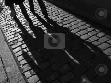 Furtive shadowsof a couple in the street. stock photo, Paris, France, Europe, 2008 - Furtive Shadows of a man and a woman in an alley in Paris. by FEL Yannick