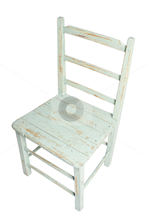 Country style chair stock photo, Ruff up green country style chair by Yann Poirier