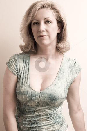 60s style stock photo, Portrait of a women in her fifties with a 60s style desaturation effect by Yann Poirier