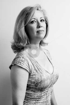 Women in her fifties in black and white stock photo, Portrait of a women in her early fifties in black and white by Yann Poirier