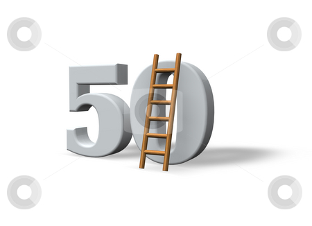 Number fifty stock photo, The number fifty - 50 -  and a ladder on white background - 3d illustration by J?