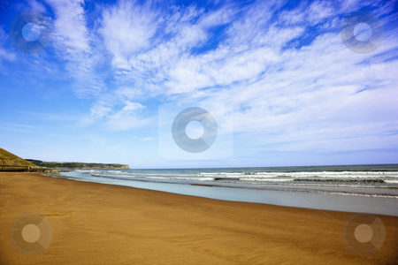 Sand sea and sky stock photo, Sand sea and sky on the east coast of england by Mike Smith
