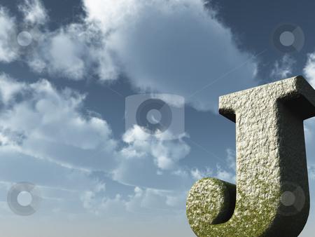 Big J stock photo, Letter j rock in front of blue sky - 3d illustration by J?