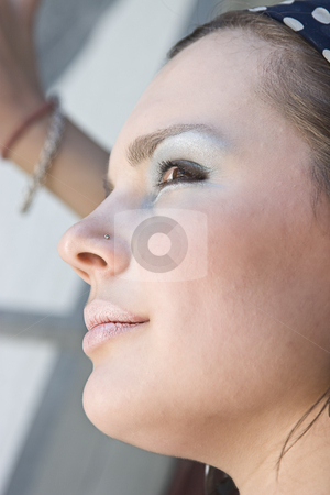 Close up portrait stock photo, Close up head shot of a teen girl by Yann Poirier