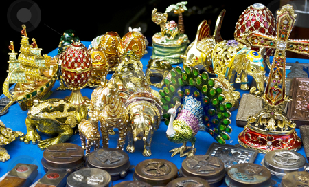 Toys decorated with jewels stock photo, Different toys decorated with colorful jewels and stones by Desislava Dimitrova
